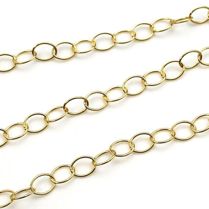 Wholesale Chain, Gold plated Sterling Silver Big Round Oval Cable Chain 8 by 6mm Bulk Chain by the foot