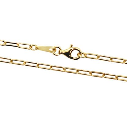 Wholesale 22K Gold Over Sterling Silver Finished Chain - Rectangle Link - Long Box Chain
