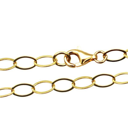 Wholesale Gold Over 925 Sterling Silver Finished Chain - Flat Cable Oval Chain
