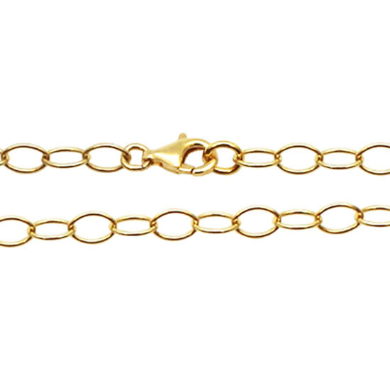Wholesale Gold Over Sterling Silver Chain Necklace - Gold Plated Bracelet, Anklet -5 x 4 Thick Round Oval Cable Chain Necklace - All Sizes