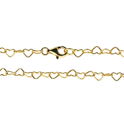Wholesale Gold plated Sterling Silver Heart Shaped Chain, Wholesale Bulk Necklace Chains