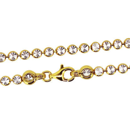 Wholesale Yellow Gold Over Sterling Silver Finished Chain -  3mm Double Sided Diamond Cut Chain