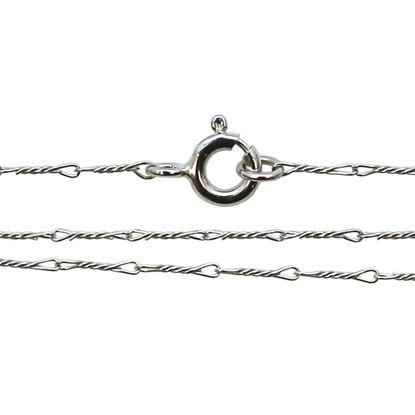 Wholesale Rhodium plated Sterling Silver Fancy Twisted Link Necklace Chain, Wholesale Bulk Necklace Chains