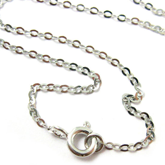 Wholesale Rhodium Plated 925 Italian Sterling Silver Finished Chain - Light Flat Cable - 24 Inches