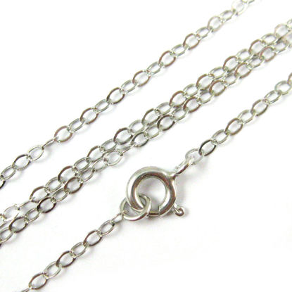Wholesale Rhodium plated Sterling Silver 2.5mm Flat Cable Chain, Wholesale Bulk Necklace Chains