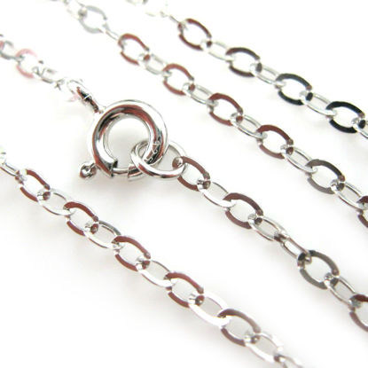 Wholesale Rhodium Plated 925 Italian Sterling Silver Finished Chain - Flat Cable Chain