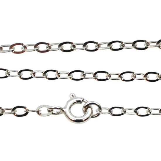 Wholesale Rhodium plated Sterling Silver 3.5mm Flat Cable Oval Chain, Wholesale Bulk Necklace Chains