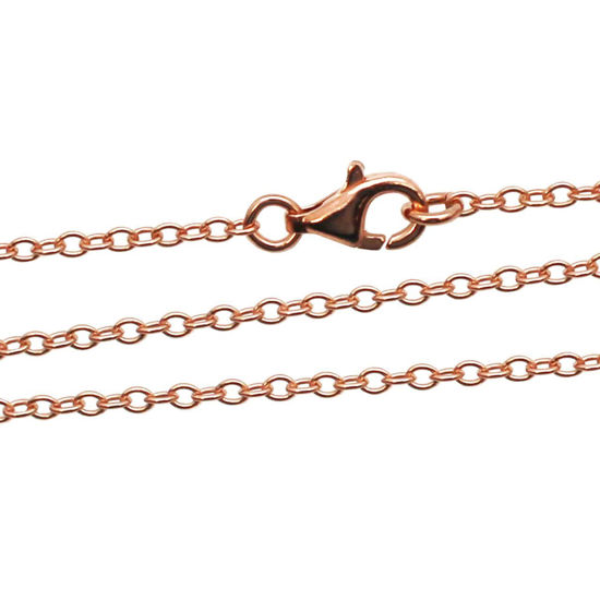 Wholesale Rose Gold plated Sterling Silver Strong Cable Oval Chain, Wholesale Bulk Necklace Chains