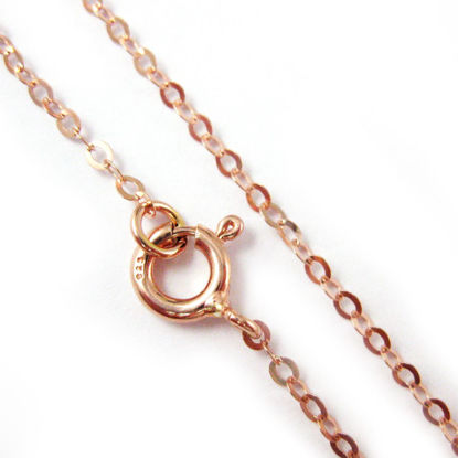 Wholesale Rose Gold plated Sterling Silver Light Flat Cable Chain, Wholesale Bulk Necklace Chains