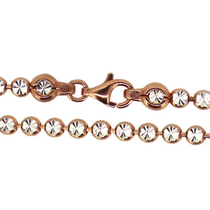Wholesale Rose Gold Over Sterling Silver Finished Chain - Diamond Cut Bead Chain