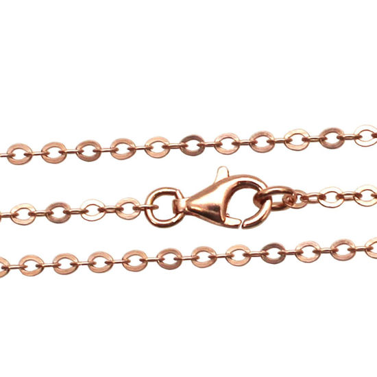 Wholesale Rose Gold plated Sterling Silver 2.3mm Strong Flat Cable Chain, Wholesale Bulk Necklace Chains