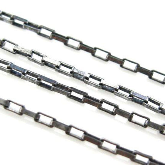 Wholesale chains, Oxidized Sterling Silver Small Rectangle Box Chain 1.5x1.2mm, Bulk Chain by the foot