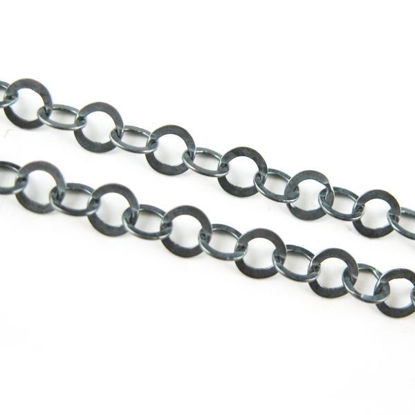 Wholesale Chain, Oxidized Sterling Silver Flat Circle Chain 3.5mm Bulk Chain by the foot