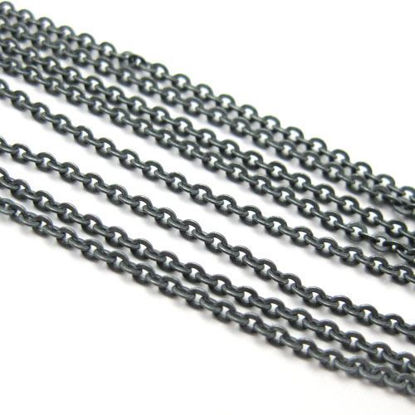 Wholesale Chain, Oxidized Sterling Silver Solid Flat Cable Oval Chain 1.2 by 1.5mm Bulk Chain by the foot