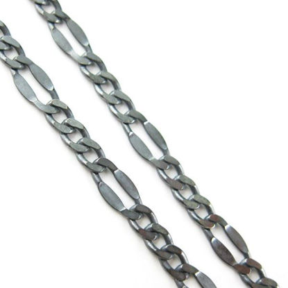 Wholesale Chain, Oxidized Sterling Silver Figaro Chain, Bulk Chain by the foot