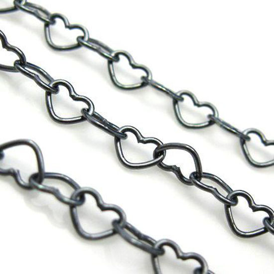 Wholesale Chain, Oxidized Sterling Silver Heart Chain Link, Bulk Chain by the foot