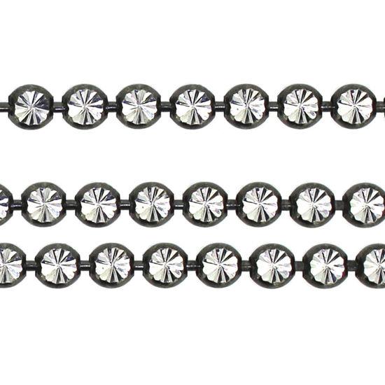 Wholesale Oxidized Sterling Silver Chain - Diamond Cut Bead Chain (sold per foot)