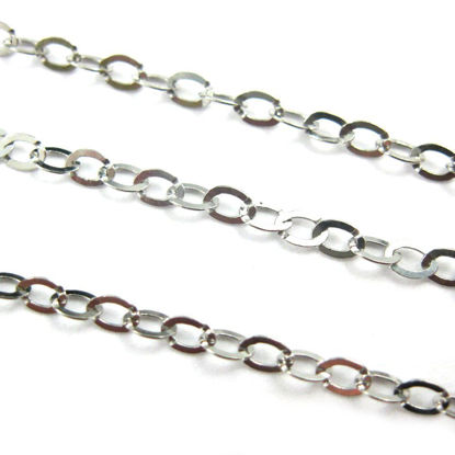 Wholesale Chain, Rhodium plated Sterling Silver Flat Cable Oval Chain 3 by 2.2mm Bulk Chain by the foot
