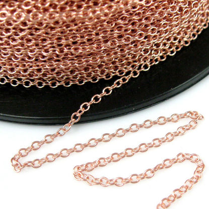 Wholesale Chain, Rose Gold plated Sterling Silver Vermeil 2mm Strong Cable Chain Bulk Chain by the foot