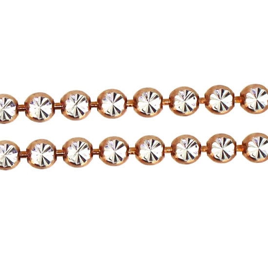 Wholesale Rose Gold Over Sterling Silver - 3mm Double Sided Diamond Cut Chain (sold per foot)