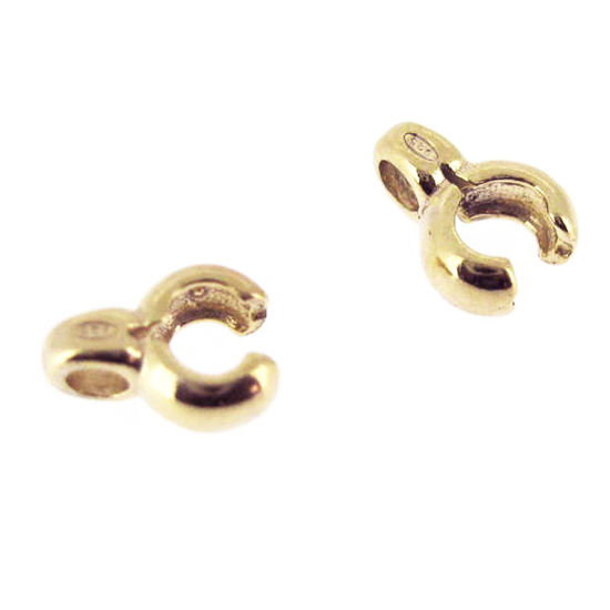 Wholesale Gold Over Sterling Silver Crimped Tube Ends ,Crimp and Endings for Jewelry Making, Wholesale Findings