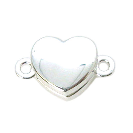 Wholesale Sterling Silver Smooth Shiny Heart Magnetic Clasp (1 clasp)