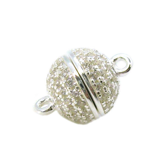 Wholesale Sterling Silver Paved CZ Stone Round Magnetic Clasp - 8mm (1 clasp)