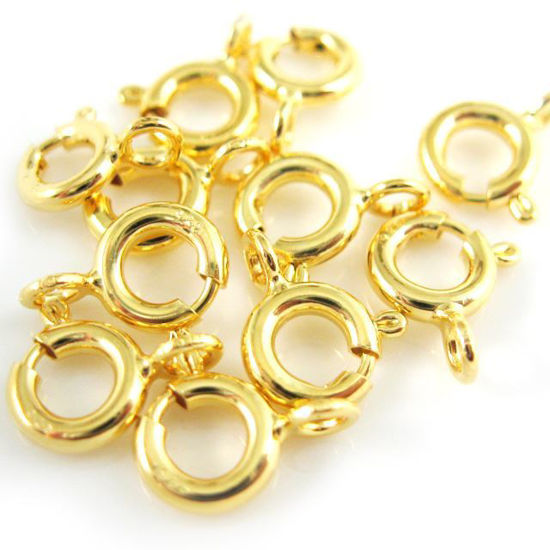 Wholesale Gold Over Sterling Silver Spring Ring Clasps - 6mm Regular Weight (pack of 5)