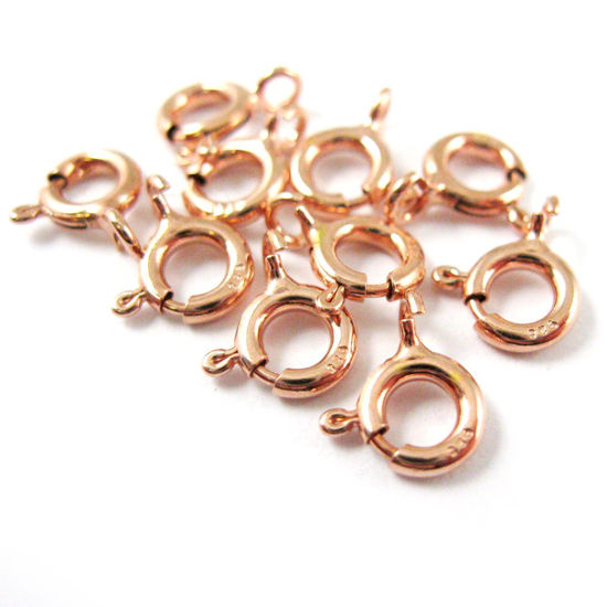 Wholesale Rose Gold over Sterling Silver 5.5mm Spring RIng Clasp for Jewelry Making, Wholesale Beads and Findings