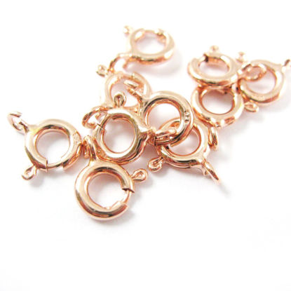 Wholesale Rose Gold Over Sterling Silver Spring Ring Clasp 6mm for Jewelry Making, Wholesale Beads and Findings