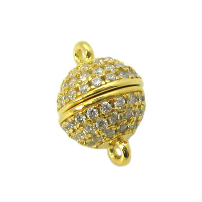 Wholesale Gold Plated Sterling Silver Paved CZ Stone Round Magnetic Clasp - 8mm (1 clasp)