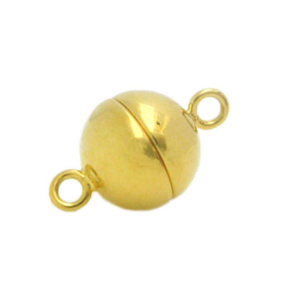 Wholesale Gold Plated Sterling Silver Smooth Shiny Magnetic Ball Clasp - 10mm (1 clasp)