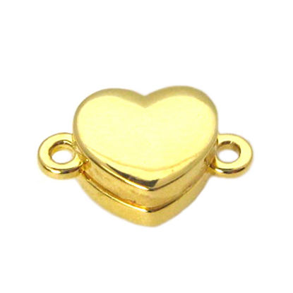Wholesale Gold Plated Sterling Silver Smooth Shiny Heart Magnetic Clasp (1 clasp)