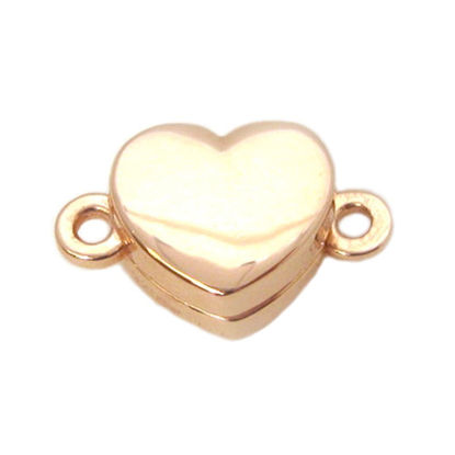 Wholesale Rose Gold Plated Sterling Silver Smooth Shiny Heart Magnetic Clasp (1 clasp)