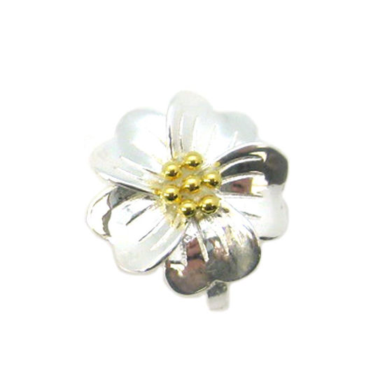 Wholesale Sterling Silver Two Tone Magnetic Flower Bail Clasp (1 clasp)