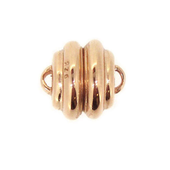 Wholesale Rose Gold Plated Sterling Silver Round Ribbed Magnetic Clasp (1 clasp)
