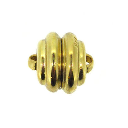 Wholesale Gold Plated Sterling Silver Round Ribbed Magnetic Clasp (1 clasp)