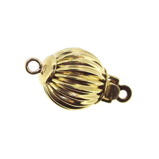 14K Yellow Gold Round Corrugated Ball Clasp, Wholesale Findings