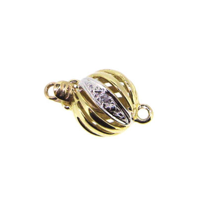 Wholesale 14K Yellow Gold Round Filigree Ball Clasp with Diamond (8.5mm)