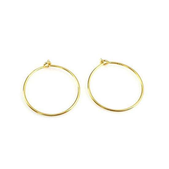 Wholesale Sterling Silver 25mm Simple Hoop Earwire for Jewelry Making, Wholesale Earwire and Findings