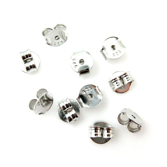 Wholesale Rhodium plated Sterling Silver Butterfly Back Earnuts for Jewelry Making, Wholesale Earwire and Findings