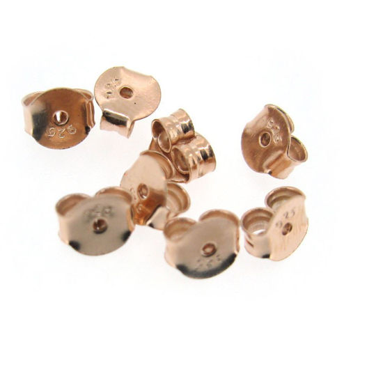 Wholesale Rose Gold Over Sterling Silver Butterfly Earring Post Backs Earnuts (5 pairs - 10 pcs)