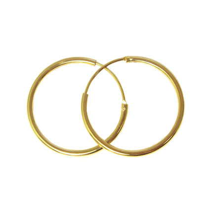 Wholesale Gold Over Sterling Silver Earring Hoops - 25mm (Sold per pair)