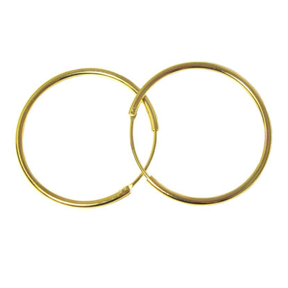 Wholesale Gold Over Sterling Silver Earring Hoops - 30mm (Sold per pair)