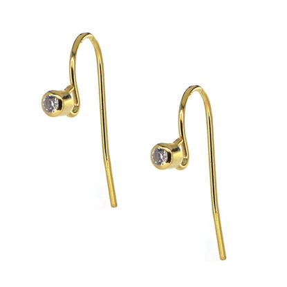 Wholesale Gold plated Sterling Silver Fancy Fishhook with CZ Stone Cup for Jewelry Making, Wholesale Earwire and Findings