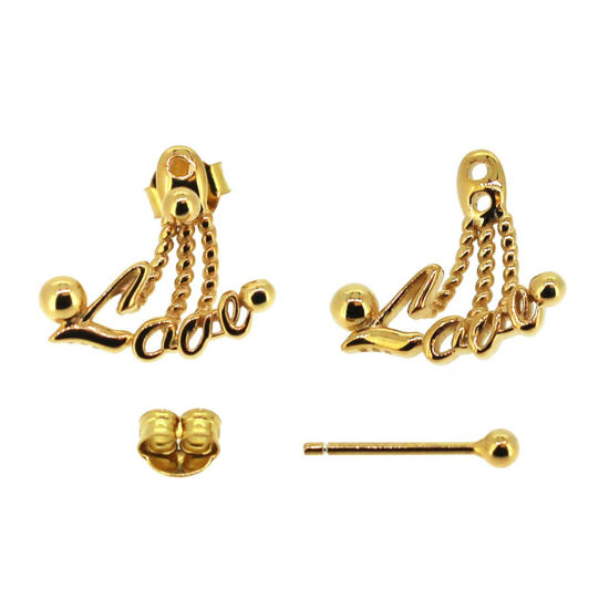 Wholesale 22K Gold Plated Sterling Silver LOVE Dangle Jacket Earrings (1 pair )