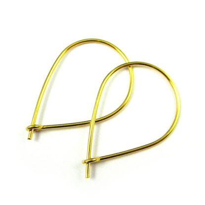 Wholesale 22K Gold Plated Sterling Silver Large Teardrop Earring Hoops - 30x20mm (1 pair)