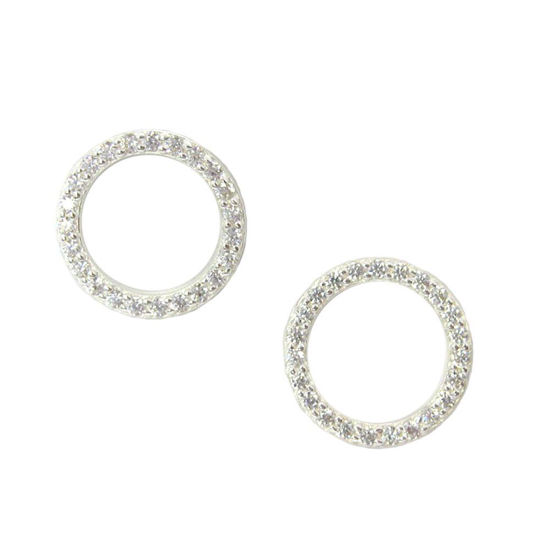 76be189a5 Wholesale Sterling Silver CZ Circle Pave Earring Studs for Jewelry Making,  Wholesale Earwire and Findings