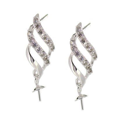 Wholesale Sterling Silver Fancy CZ Stone Flower Shaped Bridal Earrings - 18mm (Sold per pair)