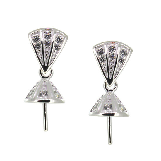 Wholesale Sterling Silver Fancy CZ Stone Triangle Shaped Bridal Earrings - 9mm (Sold per pair)